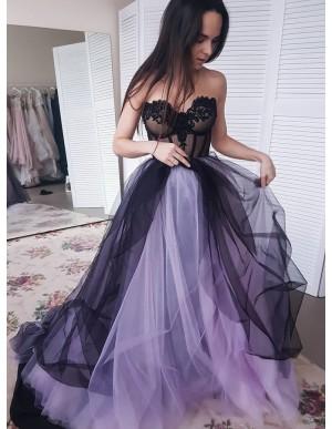 A-Line Sweetheart Sweep Train Purple Prom Dress with Appliques Beading