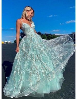 A-Line Spaghetti Straps Lace Up Floor-Length Light Blue Lace Prom Dress