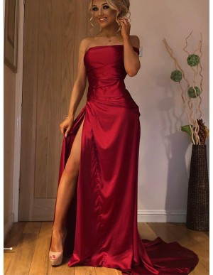 A-Line Dark Red Prom Dress with Split Sleeveless Long Strapless Party Dress