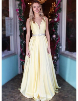 Simple V-Neck Yellow Prom Dress with Beading Sleeveless Long Prom Gown