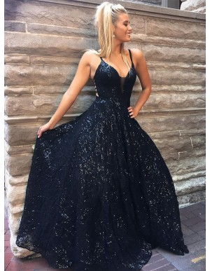 Spaghetti Straps Long Sleeveless Black Prom Dress with Sequin Party Dress