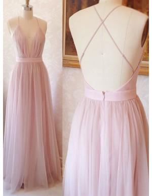 Spaghetti Straps Pink Prom Dress Sleeveless Simple Long Party Dress