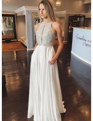 Elegant Jewel Open Back Sleeveless White Prom Dress with Sequin Pockets