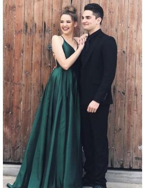 Spaghetti Straps Backless Sleeveless Simple Long Dark Green Prom Dress