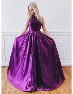 Modest A-Line Jewel Open Back Party Dress Purple Long Prom Dress