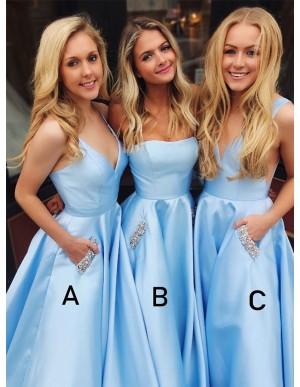 A-Line V-Neck Satin Sleeveless Long Blue Prom Dress with Beading