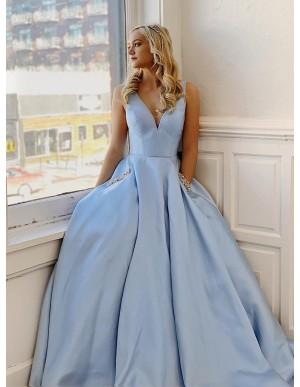 A-Line V-Neck Satin Sleeveless Long Light Blue Prom Dress with Beading