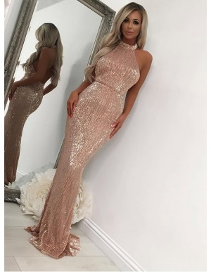 Elegant Mermaid Halter Rose Gold Prom Dress Backless Sequin Evening Dress