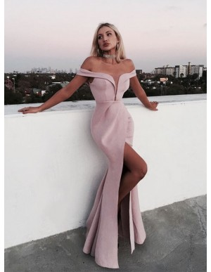 Beautiful Long Mermaid Pink Off-the-Shoulder Prom Dress with Split