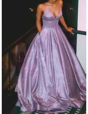 A-Line Spaghetti Straps Long Prom Dress Glitter Lilac Evening Dress
