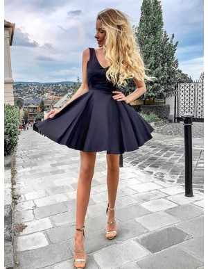 V-Neck Sleeveless Short Dark Navy Homecoming Dress Backless Party Dress