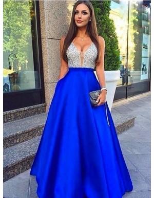 A-Line V-Neck Royal Blue Satin Prom Dress with Beading Pockets