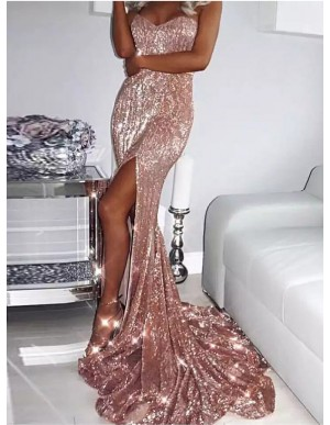 Sweetheart Mermaid Evening Dress Long Pink Prom Dress