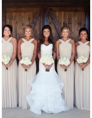 A-Line V-Neck Sleeveless Floor-Length Ivory Bridesmaid Dress with Pleats