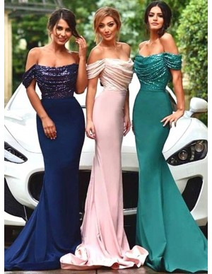 Mermaid Off the Shoulder Short Sleeves Bridesmaid Dress with Sequins