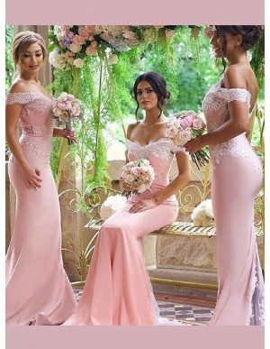Mermaid Off the Shoulder Court Train Pink Bridesmaid Dress with Lace