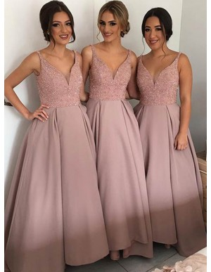 A-Line V-Neck Floor-Length Blush Bridesmaid Dress with Sequins