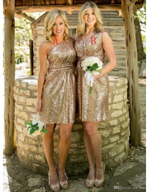 Sheath One Shoulder Short Gold Sequines Bridesmaid Dress with Pleats