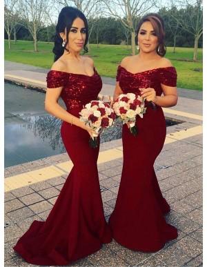Mermaid Off-the-Shoulder Dark Red Elegant Bridesmaid Dress with Sequins