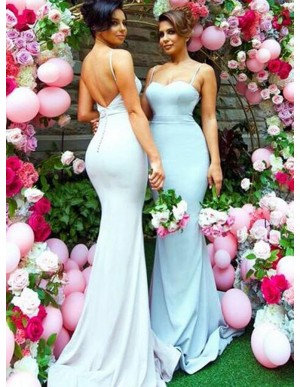 Mermaid Spaghetti Straps Sweep Train Backless Blue Bridesmaid Dress
