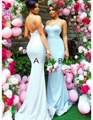 Mermaid Spaghetti Straps Sweep Train Backless Light Blue Bridesmaid Dress
