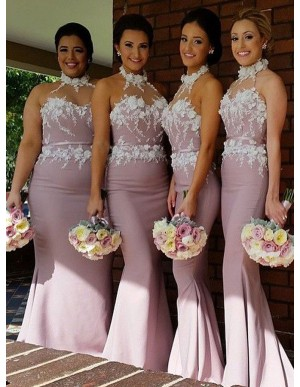 Mermaid Halter Sleeveless Blush Bridesmaid Dress with Appliques Sash