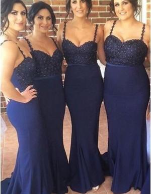 Mermaid Spaghetti Straps Sweep Train Navy Blue Bridesmaid Dress with Lace Beading