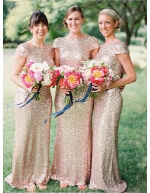 Chic Mermaid Floor Length Cap Sleeves Sequins Rose Gold Bridesmaid Dress