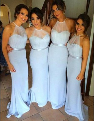 Mermaid Halter Sleeveless Floor-Length Backless Blue Bridesmaid Dress