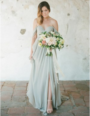 A-Line Off the Shoulder Backless Grey Bridesmaid Dress with Pleats