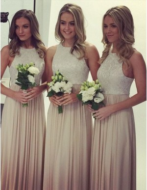 A-line Jewel Sleeveless Long Light Champagne Bridesmaid Dress with Lace