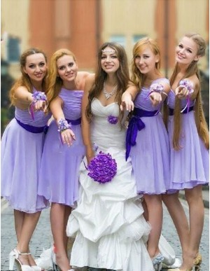 A-line One Shoulder Short Ruched Lavender Bridesmaid Dress with Sash