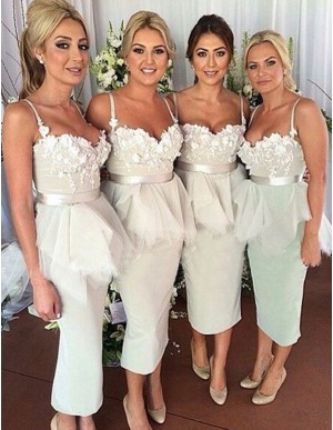 Mermaid Sweetheart Tea-length Ivory Bridesmaid Dress with Sash Appliques Ruffles