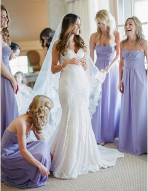 A-line Sweetheart Floor Length Ruched Lavender Bridesmaid Dress