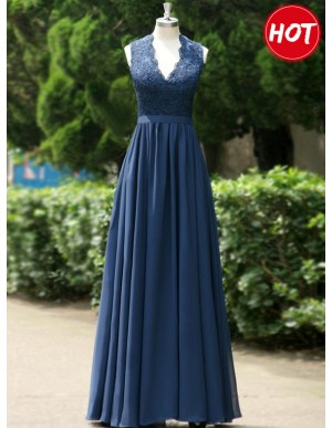 A-line V Neck Open Back Navy Blue Bridesmaid Dress with Lace Pleats