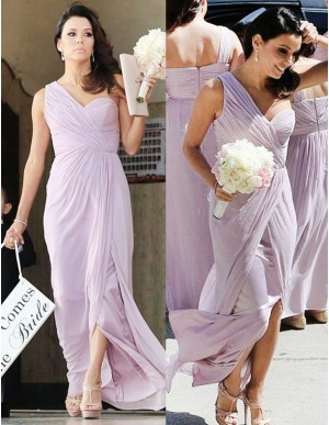 A-line One Shoulder Split Floor-length Pleated Bridesmaid Dress