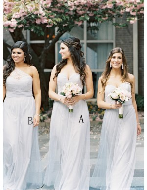 A-Line Sweetheart Floor-Length Light Grey Bridesmaid Dress with Lace
