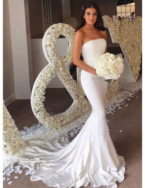 Strapless Mermaid Long Wedding Party Dress White Bridesmaid Dress