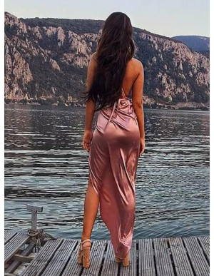 Sexy Tea Length Spaghetti Straps Pink Sheath Prom Dress with Split