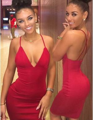Sheath Red Deep V-Neck Criss-Cross Straps Short Cocktail Dress