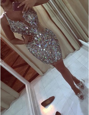 Sheath Deep V-neck Beading Rhinestone Short Cocktail Dress
