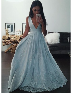 A-Line Deep V-Neck Blue Long Prom Dress with Appliques Beading