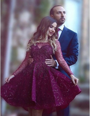 A-Line Long Sleeves Short Burgundy Beaded Lace Prom/Homecoming Dress