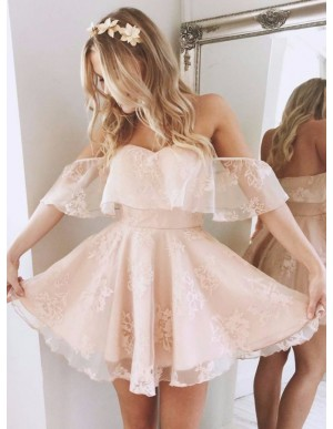 A-Line Off-the-Shoulder Short Pink/Blue Organza Cute Homecoming Dress