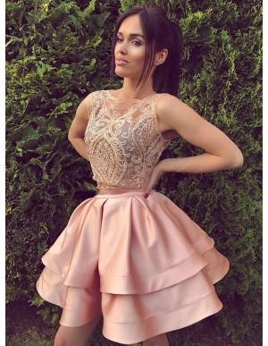 A-Line Bateau Sleeveless Zipper-Up Pink Satin Homecoming Dress with Appliques