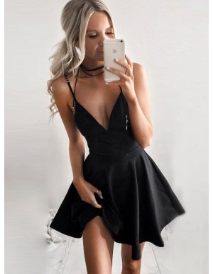 A-Line Spaghetti Straps Sleeveless Short Black Satin Homecoming Dress