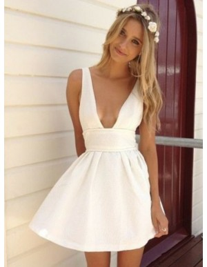 A-Line Deep V-Neck White Satin Homecoming Dress