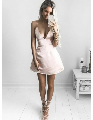 A-Line Spaghetti Straps Short Satin Pearl Pink Homecoming Dress