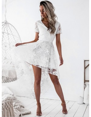 263be6d8ea7 High Low V-Neck Short Sleeves Criss-Cross Straps White Lace Prom Homecoming