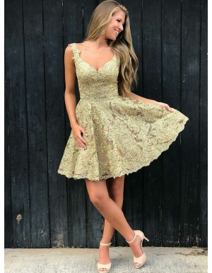 A-Line Straps Backless Short Champagne Lace Homecoming Dress